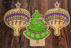 Christmas tree and ornaments on old vintage, retro classic wood background Royalty Free Stock Photo
