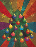 Christmas Tree with Ornaments on Rays Background stock illustration
