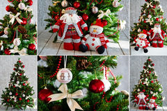 Christmas tree and ornaments in red Royalty Free Stock Images