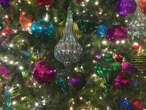 Christmas Tree Ornaments. Ornaments on a Christmas tree in San Diego royalty free stock photography