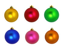 Christmas tree ornaments. Several multicolored decorative balls. Isolated on white background royalty free stock image