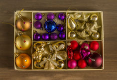 Christmas tree ornaments, shiny Christmas decorations Stock Images