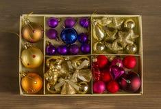 Christmas tree ornaments, shiny Christmas decorations Stock Images