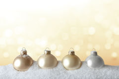 Christmas tree ornaments snow gold Stock Photos