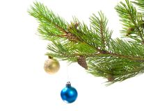 Christmas tree ornaments. two colour balls Royalty Free Stock Photo