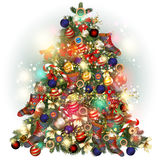 Christmas tree ornate decorated by baubles, snowflakes, socks. b Royalty Free Stock Image