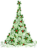 Christmas tree. Ornate tree of holly berries  on white background Royalty Free Stock Photography