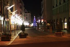 christmas tree in Ostrava city royalty free stock photo