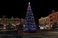 christmas tree in Ostrava city royalty free stock photos