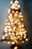 Christmas tree out of focus. Stock Photo