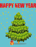 Christmas tree out of money. Happy new year. Snowfall of coins. Stock Photography