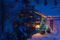 Christmas tree outdoor decoration. In a snowy night with gifts and illuminatedn wooden  home Royalty Free Stock Image