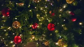 Christmas tree at the outdoor market. In old city stock video footage