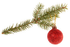 Christmas tree outfit with a decorative ball. Stock Photo