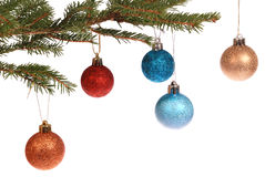 Christmas tree outfit with a decorative color ball. Stock Photos