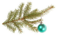 Christmas tree outfit with a decorative green ball. Royalty Free Stock Photo