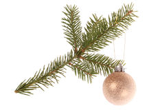 Christmas tree outfit with a decorative red ball. Stock Images
