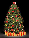 Christmas tree over the black 3d Royalty Free Stock Image