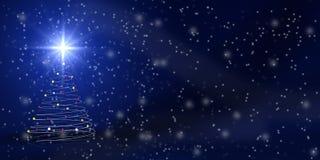 Christmas tree over blue Stock Photos