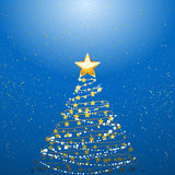 Christmas tree over blue Royalty Free Stock Image