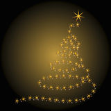 Christmas tree over gold Royalty Free Stock Photography