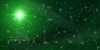 Christmas tree over green Royalty Free Stock Image