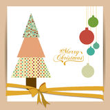 Christmas tree. Over pink background vector illustration Royalty Free Stock Photography