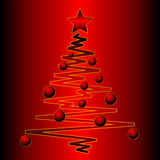 Christmas tree over red gradient Royalty Free Stock Photo