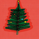 Christmas Tree Over Red Royalty Free Stock Photography