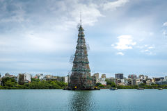 Christmas Tree over the Rodrigo Freitas Lagoon in Rio de Janeiro, Brazil Royalty Free Stock Photos
