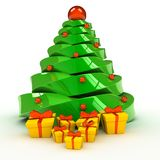 Christmas tree over white background. 3d computer generated image Stock Image