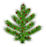 Christmas tree over white background. Decorated Christmas tree with color balls on white background. Vector illustration Stock Photo