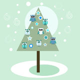 Christmas tree with owls Royalty Free Stock Photos