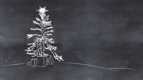 Christmas tree painted on a blackboard. 3d illustration of a Christmas tree painted on a blackboard Royalty Free Stock Images