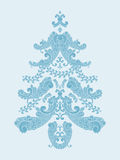 Christmas tree from paisley elements. In blue Stock Images