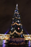 Christmas tree on the Palace Square at night Stock Images