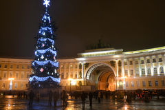 Christmas tree on the Palace Square at night. Stock Photography