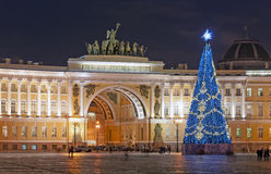 Christmas tree on Palace Square. Saint-Petersburg. Russia Royalty Free Stock Photos