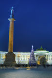 Christmas tree on Palace Square in Saint Petersburg, Russia Royalty Free Stock Images