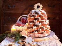 Christmas tree Pandoro in christmas time Royalty Free Stock Images
