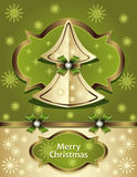 Christmas Tree from paper with bow ribbon snowflak Royalty Free Stock Photo
