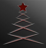 Christmas tree paper cut lines cross Stock Photography