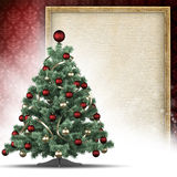 Christmas tree and paper sheet in picture frame Stock Photography