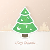 Christmas tree paper with snow background Royalty Free Stock Images