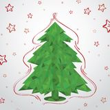 Christmas Tree In Paper Triangle. Vector Illusration Stock Image