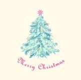 Christmas tree, pastel shades. Postcard. Merry Christmas. Isolated single Christmas tree.  Vector illustration Royalty Free Stock Photo