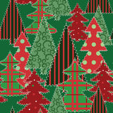 Christmas tree patchwork fabric Stock Image