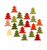Christmas tree in patchwork style. Fir tree pattern vector. Illustration. Peasant style patch fabric mosaic for xmas greetings Royalty Free Stock Image
