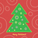 Christmas tree in patchwork style. stock illustration