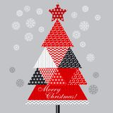 Christmas tree in patchwork style. Stock Images